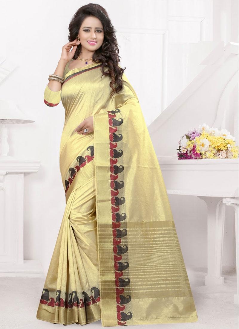 ba815254b5d0f Shop Impeccable Cream Color Resham Work Party Wear Saree Online