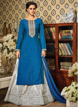 Impeccable Embroidered Work Blue and Off White Silk Kameez Style Lehenga Choli