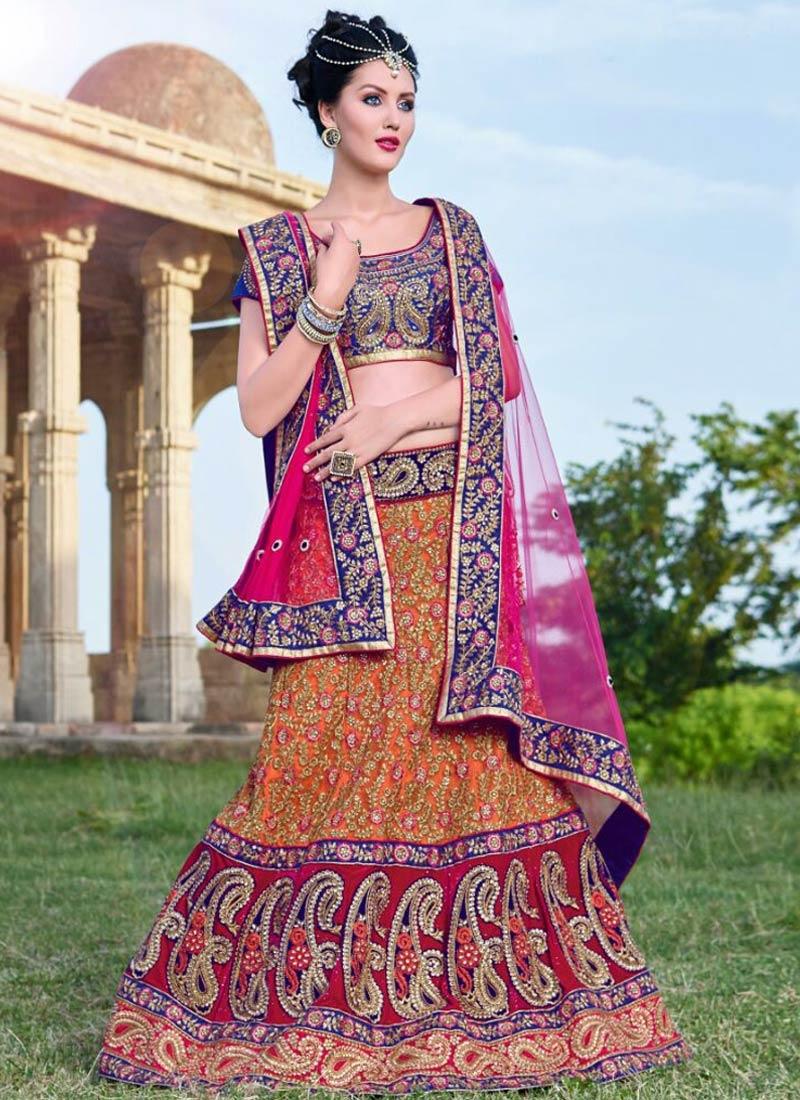 Impeccable Embroidery And Booti Work Bridal Lehenga Choli