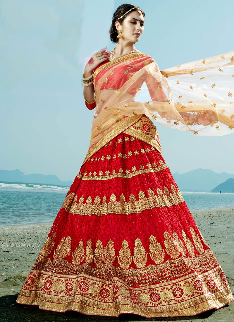 Impeccable Embroidery Work Net Bridal Lehenga Choli