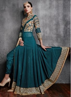 Impeccable Embroidery Work Pant Style Designer Salwar Kameez