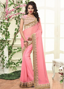 Impeccable Faux Chiffon Embroidered Work Contemporary Style Saree For Ceremonial