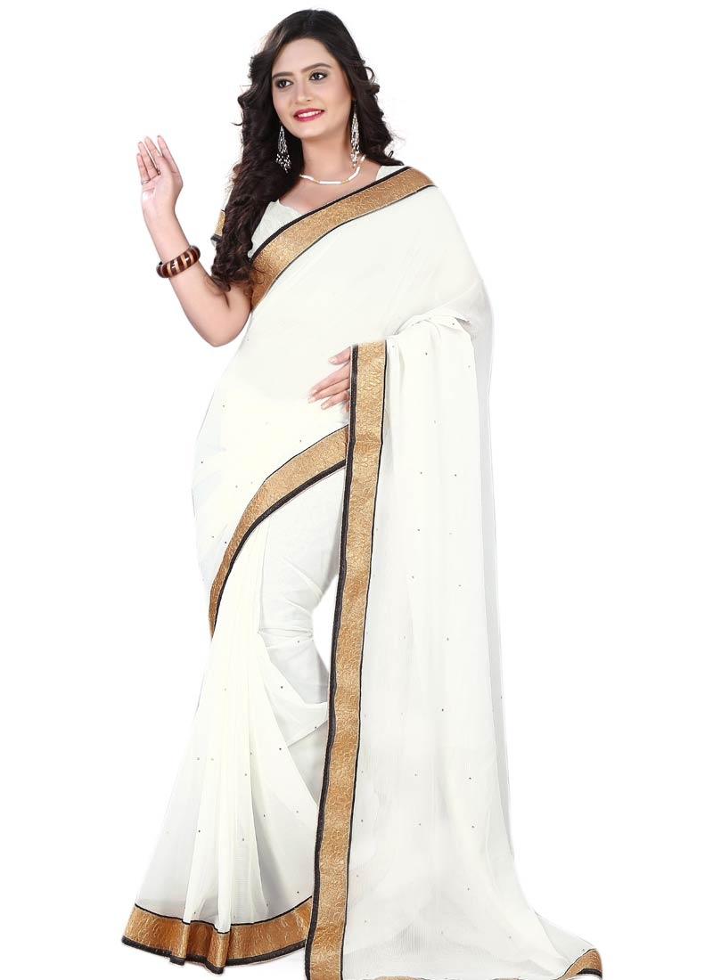Impeccable Faux Chiffon Lace Work Casual Saree