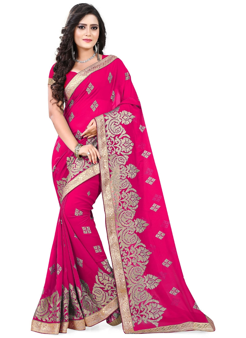 Impeccable Faux Georette Stone Work Designer Saree