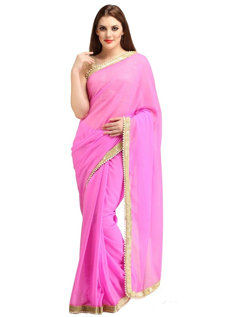 Impeccable Faux Georgette Beads Work Casual Saree