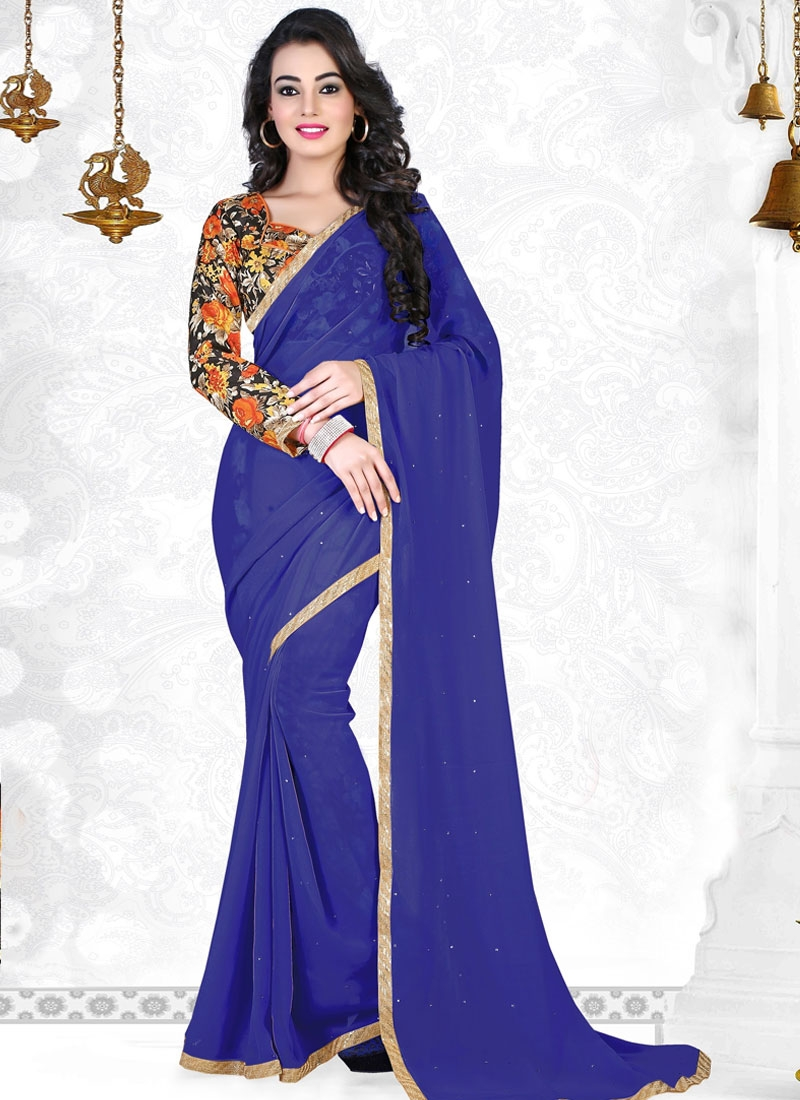 Impeccable Faux Georgette Stone Work Casual Saree
