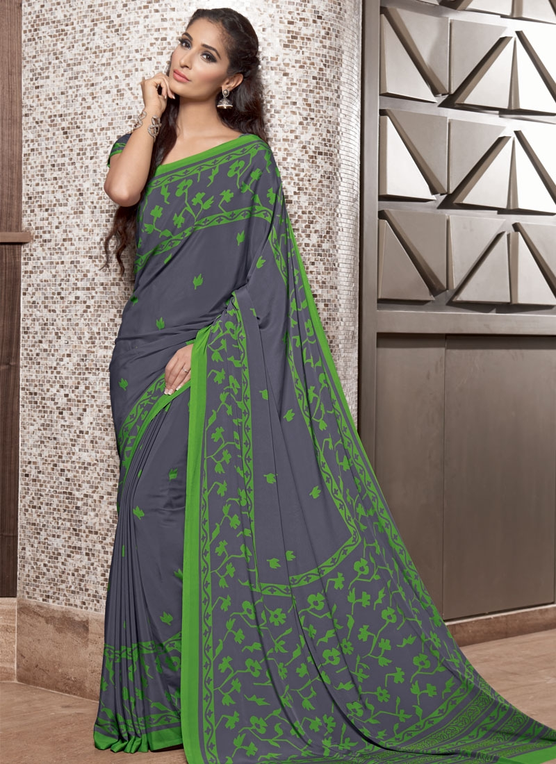 Impeccable Grey Color Crepe Silk Casual Saree