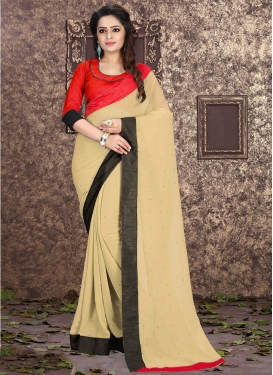 Impeccable Lace Work Beige Color Casual Saree