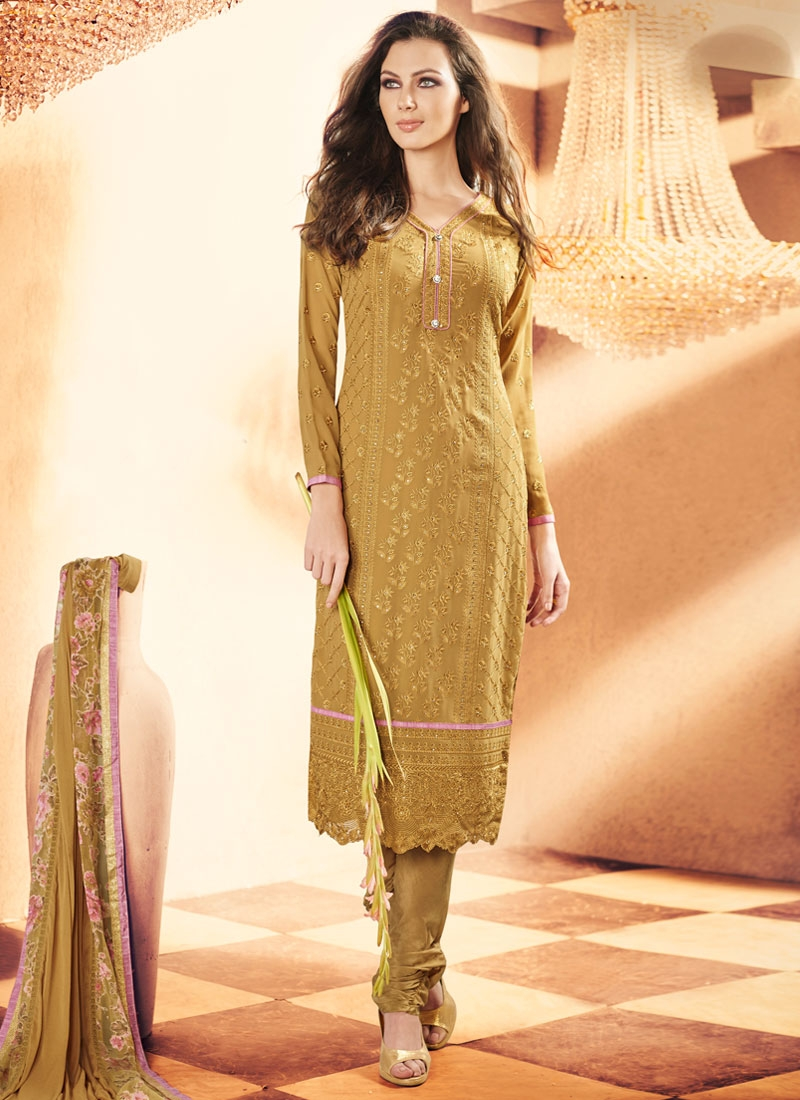 Impeccable Lace Work Faux Georgette Churidar Salwar Kameez