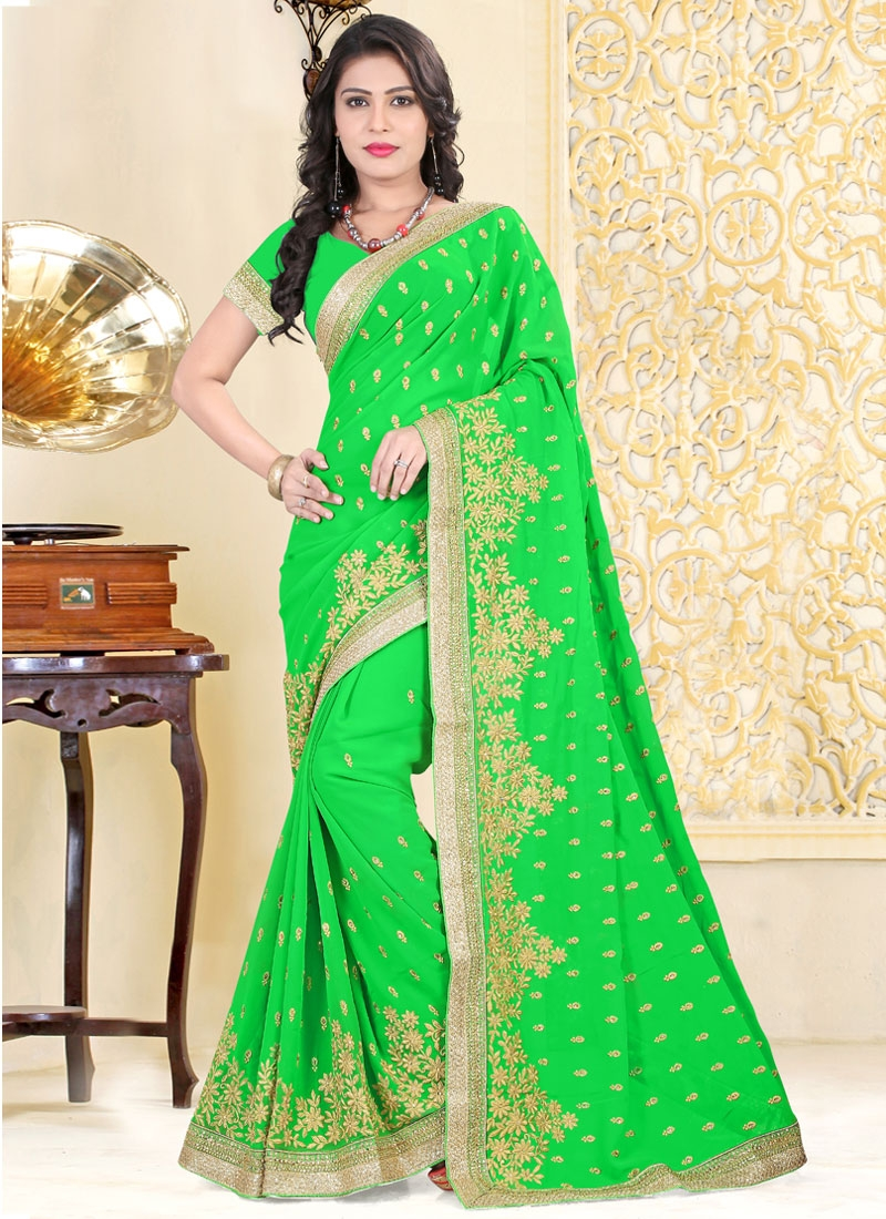 Impeccable Mint Green Color Faux Georgette Party Wear Saree