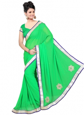 Impeccable Mint Green Color Lace Work Casual Saree