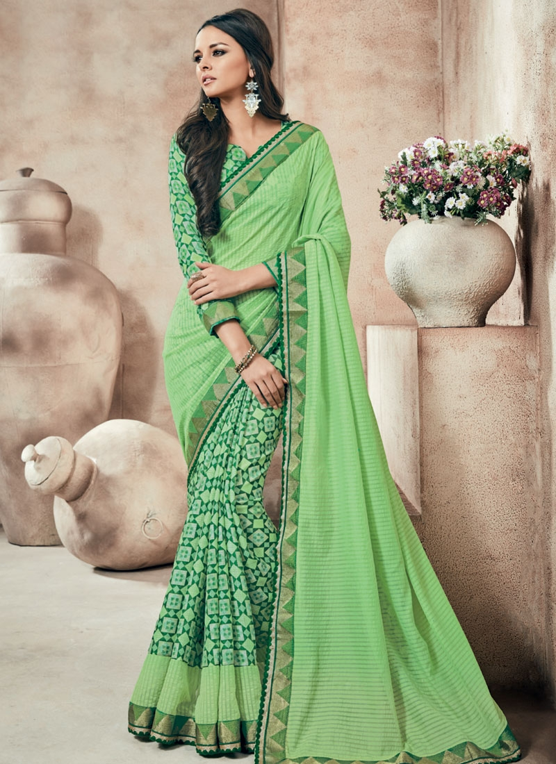 Impeccable Mint Green Color Party Wear Saree