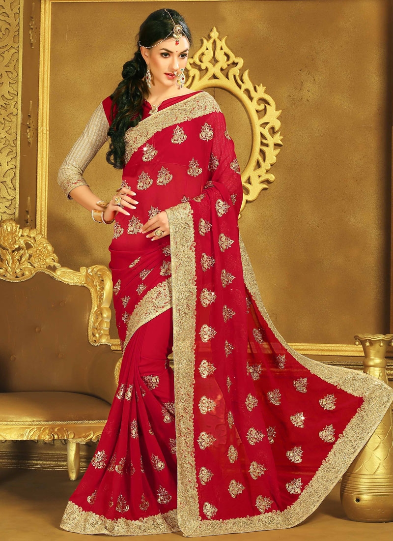 Impeccable Mirror Work Red Color Wedding Saree