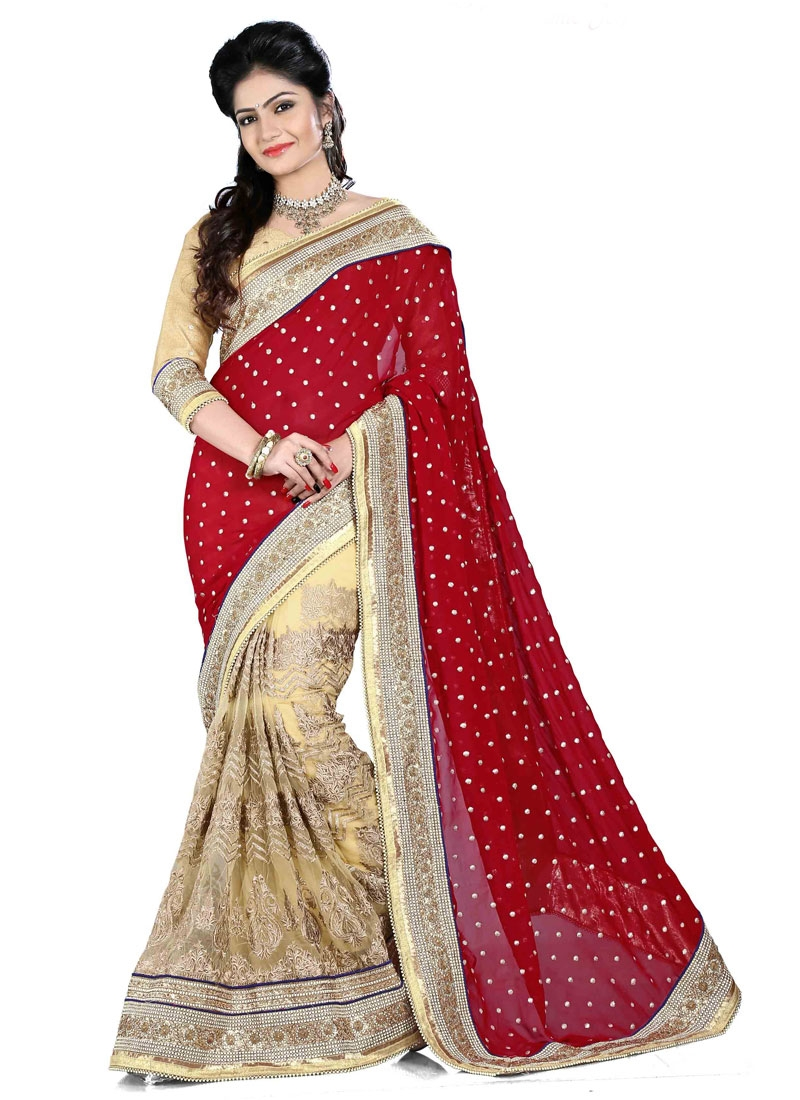 Impeccable Multi And Resham Work Half N Half Wedding Saree
