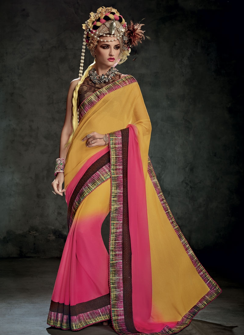 Impeccable Mustard And Hot Pink Color Party Wear Saree