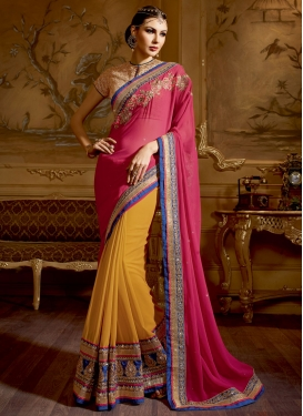 Impeccable Mustard And Rose Pink Color Half N Half Wedding Saree