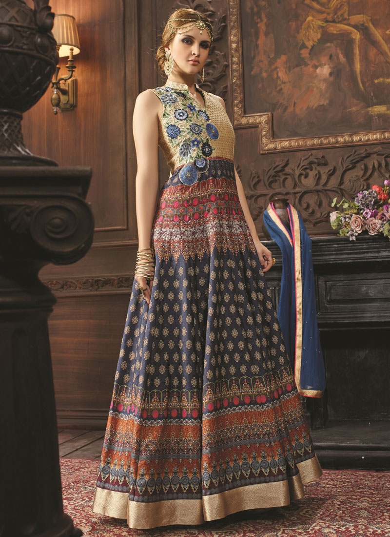 Impeccable Navy Blue Color Long Length Designer Salwar Kameez