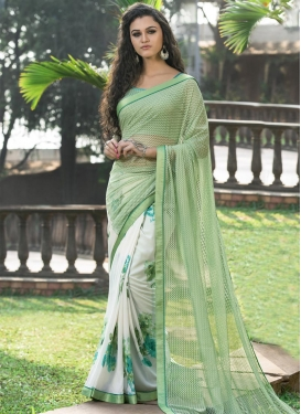 Impeccable Net Digital Print Work Half N Half Saree For Ceremonial