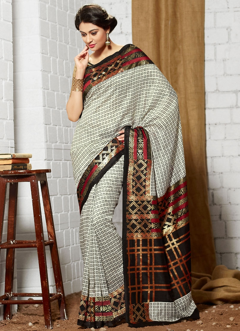 Impeccable Off White Color Art Silk Casual Saree