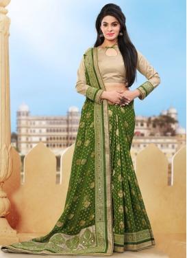 Impeccable Olive Color Jacquard Designer Saree