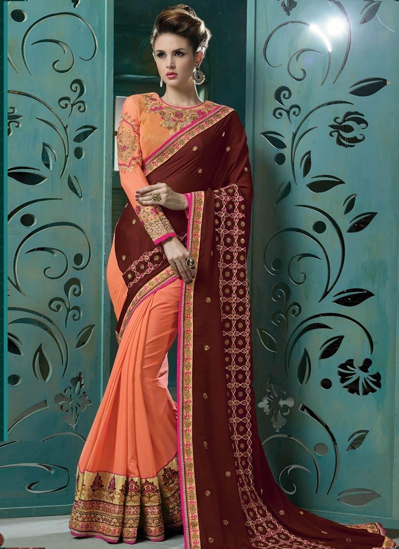 Impeccable Pure Chiffon Half N Half Designer Saree