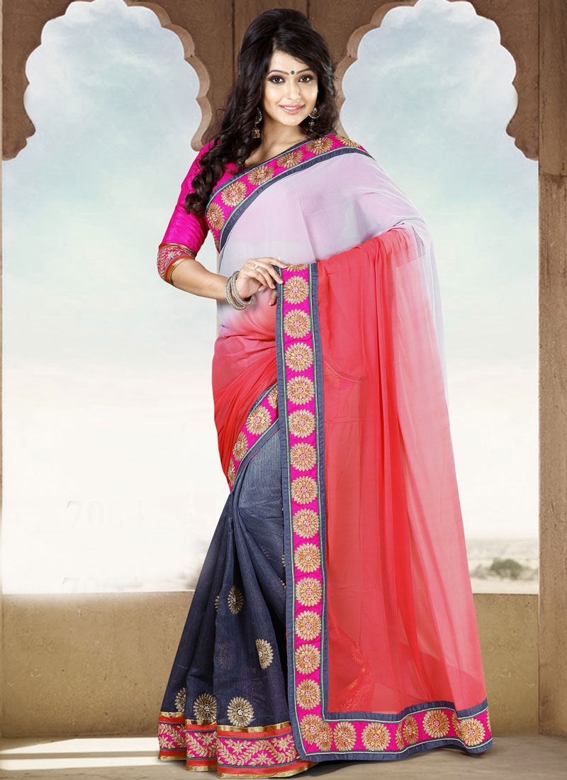 Impeccable Red And Grey Color Casual Saree