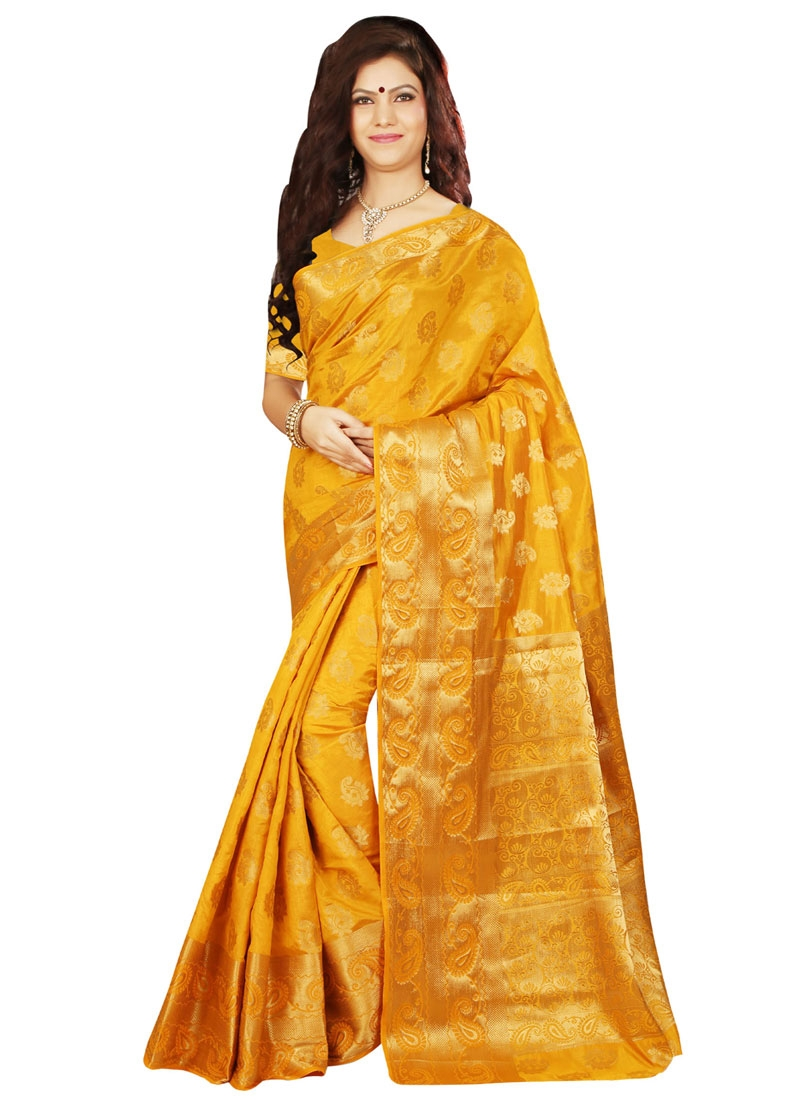 Impeccable Resham Work Mustard Color Party Wear Saree