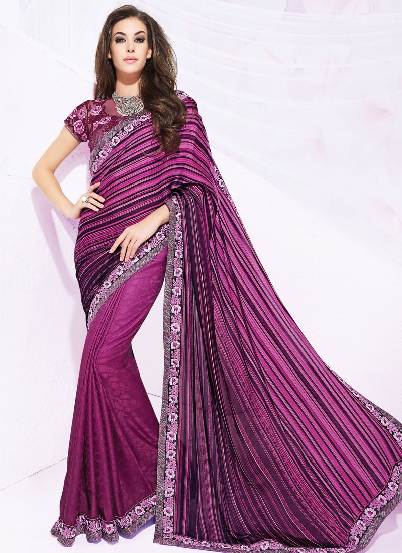 Impeccable Resham Work Silk Georgette Party Wear Saree