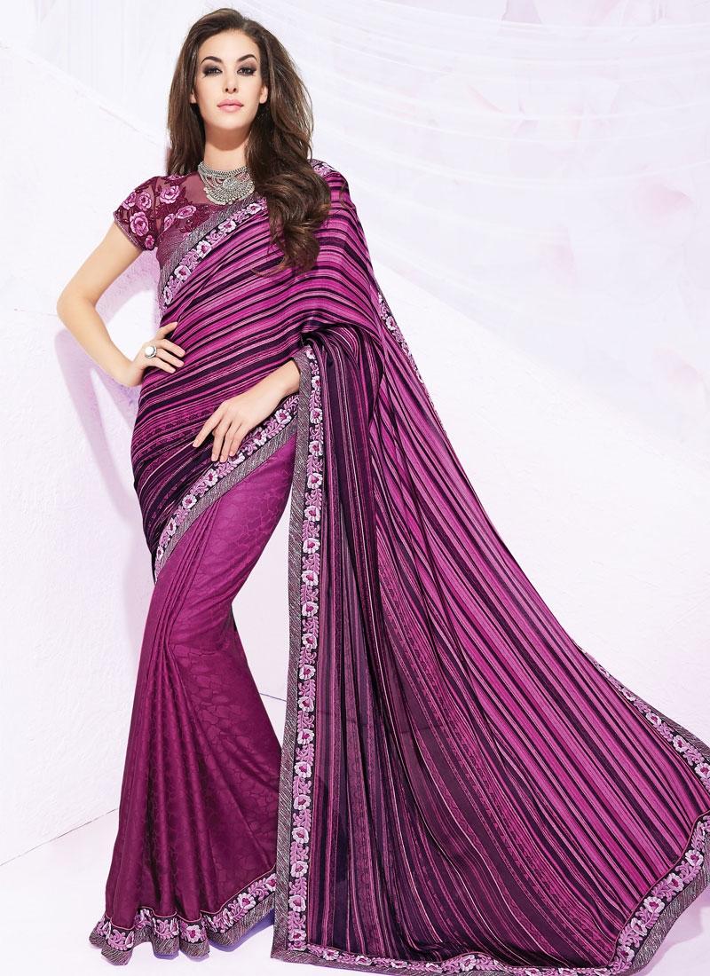 Impeccable Resham Work Silk Georgette Party Wear Saree
