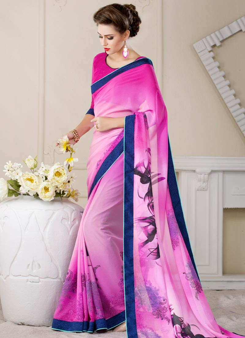 Impeccable Rose Pink Color Casual Saree