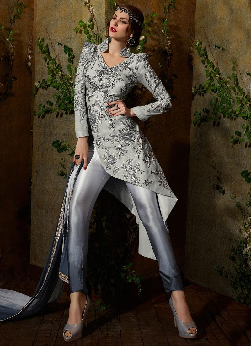 Impeccable Silver Color Pant Style Designer Salwar Kameez