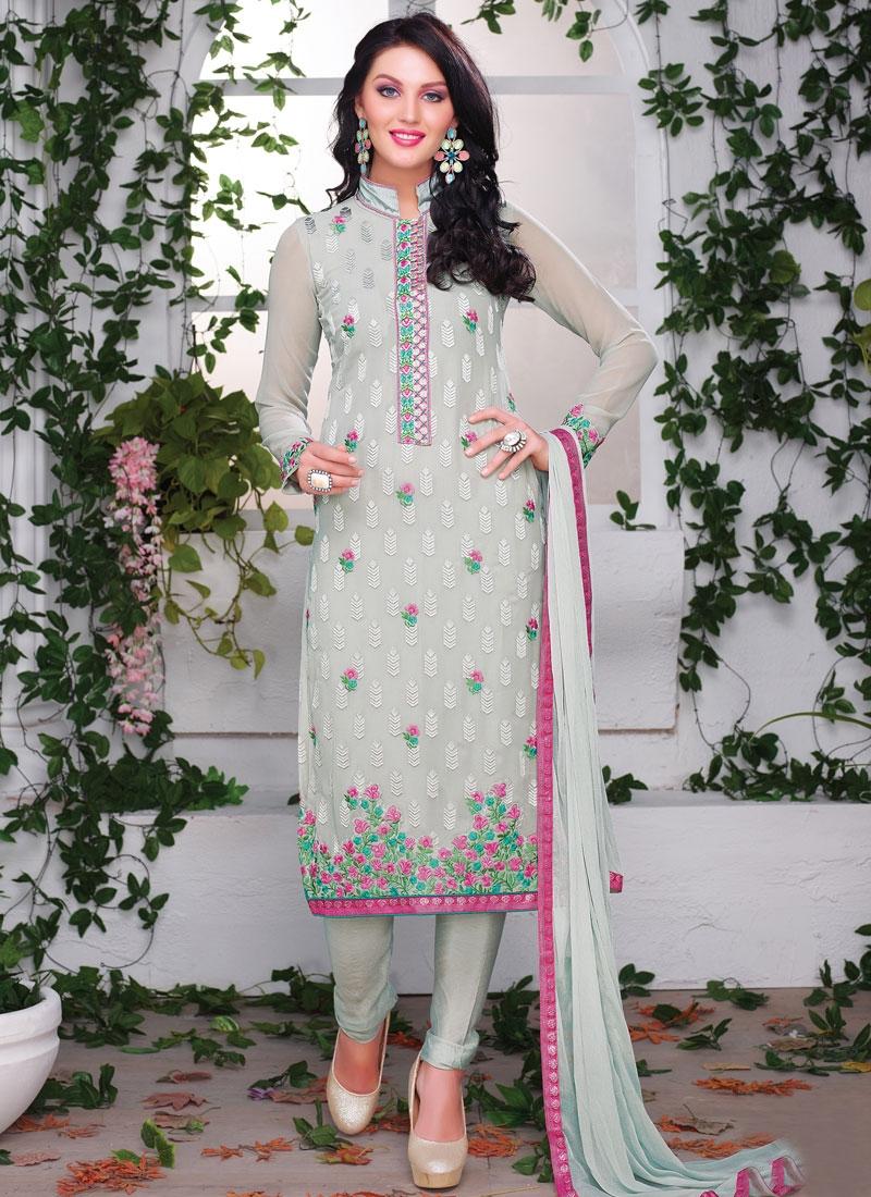 Impeccable Silver Color Party Wear Salwar Kameez