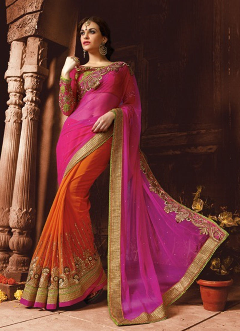 Impeccable Stone Work Half N Half Wedding Saree