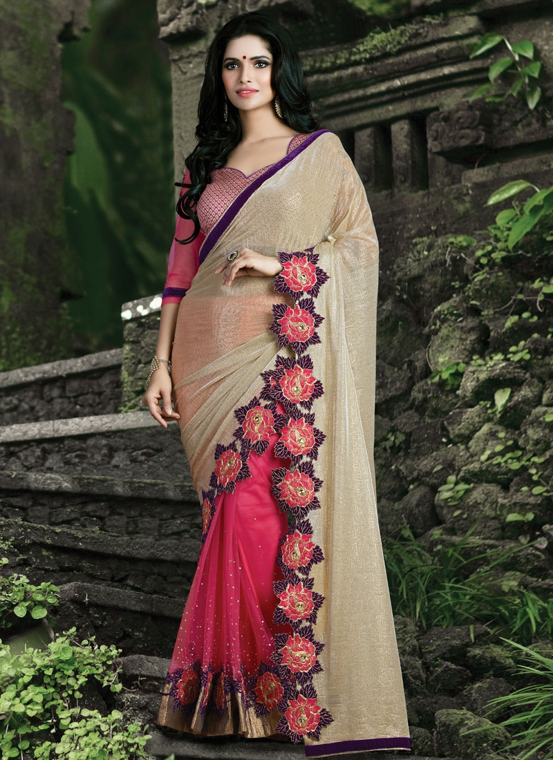 Impeccable Stone Work Net Half N Half Designer Saree