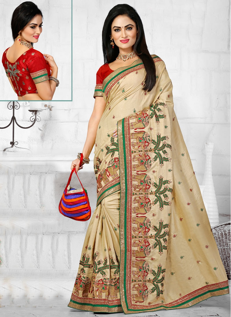 Impeccable Stone Work Wedding Saree