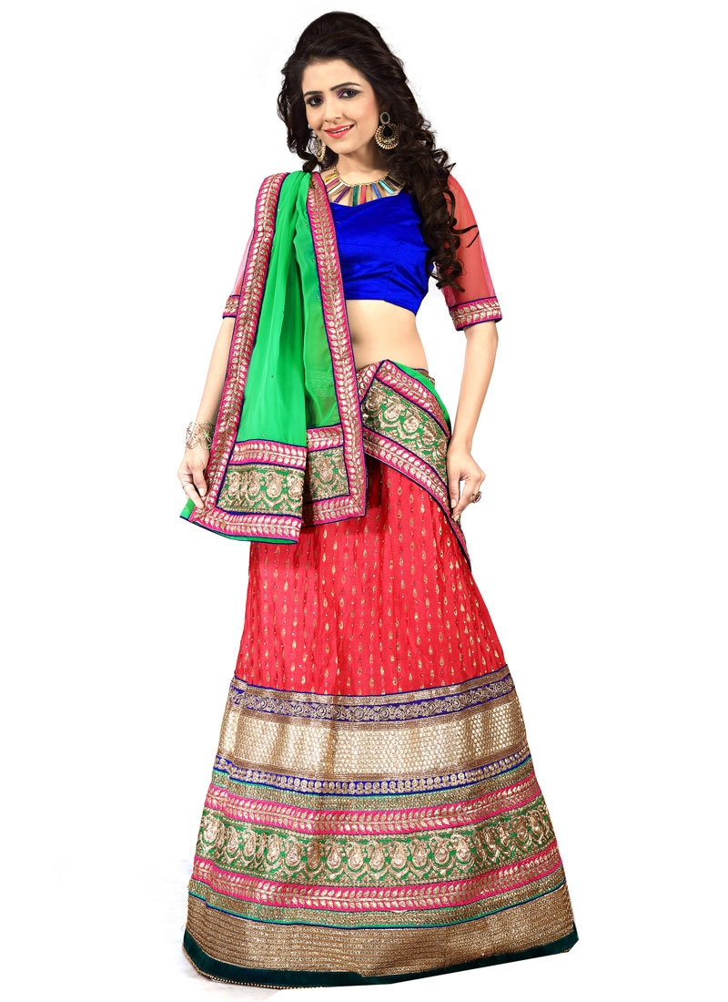 Impeccable Tomato Color Resham Work Designer Lehenga Choli