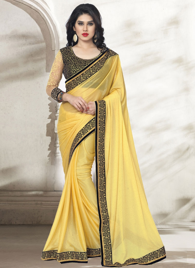 Impeccable Yellow Color Lycra Party Wear Saree