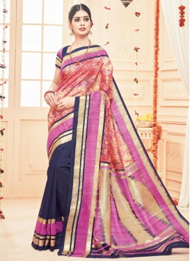 Imperial  Beige and Magenta Print Work Half N Half Saree