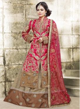Imperial Bhagalpuri Silk Beige and Rose Pink Kameez Style Lehenga Choli