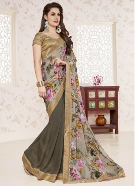 Imperial Chiffon Satin Digital Print Work Brown and Silver Color Half N Half Trendy Saree