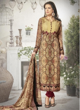 Imperial  Cream and Maroon Embroidered Work Designer Pakistani Salwar Suit