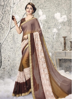 Imperial  Embroidered Work Beige and Brown Net Trendy Designer Saree