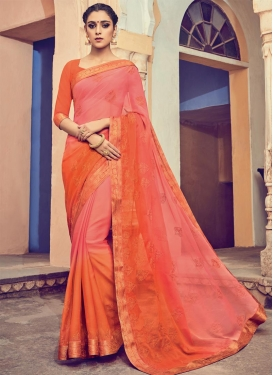 Imperial Faux Chiffon Embroidered Work Traditional Saree