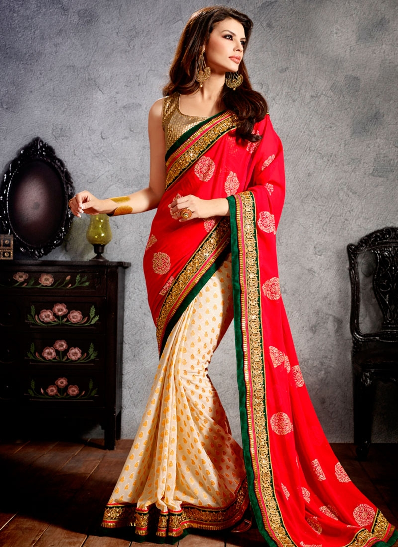 Imperial Faux Georgette Half N Half Wedding Saree