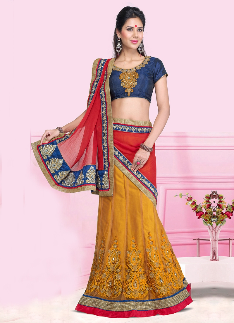 Imperial Orange And Red Color Lehenga Saree