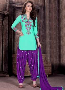 Imperial Purple and Turquoise Embroidered Work Cotton  Patiala Salwar Kameez