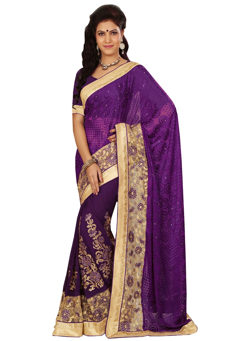 Imperial Purple Color Brasso Georgette Designer Saree