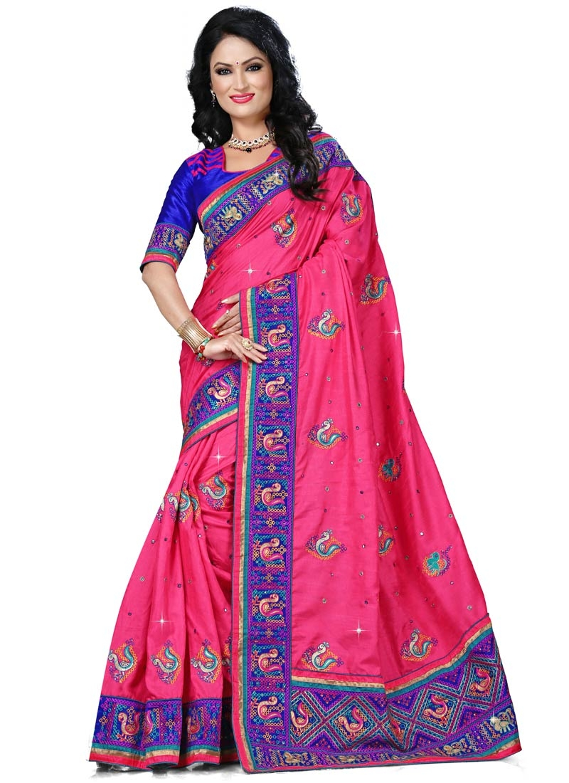 Imperial Resham Work Rose Pink Color Designer Saree