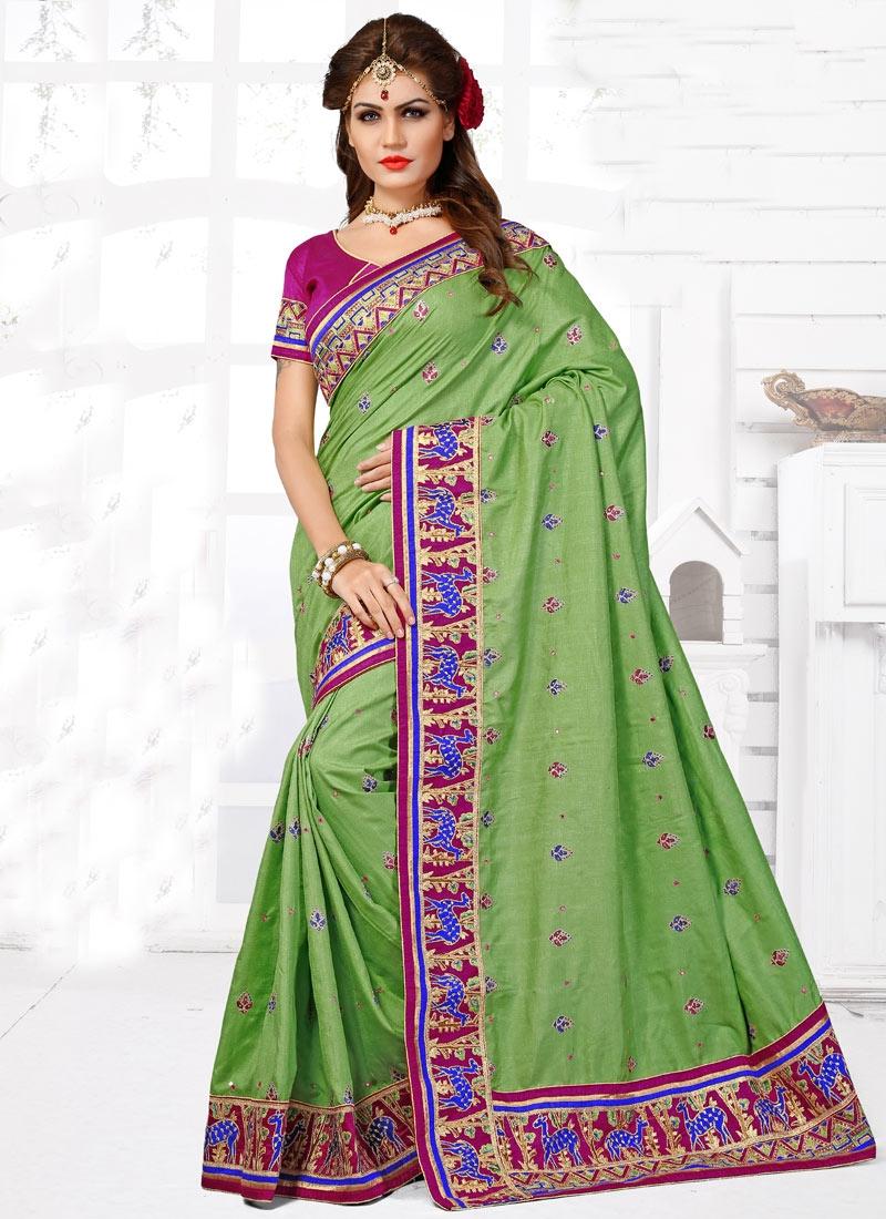 Imposing Aloe Veera Green Color Lace Work Wedding Saree