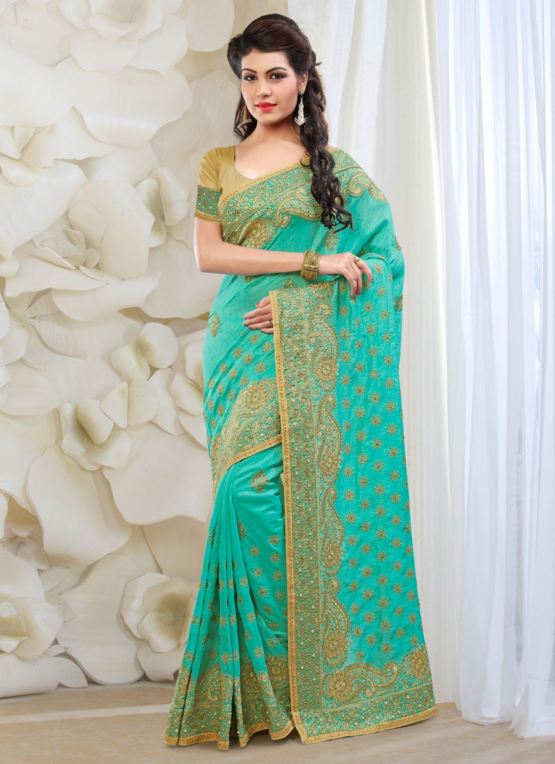 Imposing Art Silk Resham Work Wedding Saree